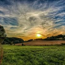 Rosenteich und Sonnenuntergang Naturpark Südharz